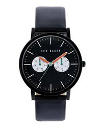 Ted Baker - Black Multifunction Leather Strap Watch for Men - Lyst