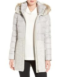 SOIA & KYO | Multicolor Mixed Media Quilted Coat With Genuine Coyote Fur Trim Hood | Lyst