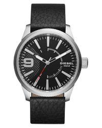 DIESEL - Black Diesel 'rasp' Leather Strap Watch for Men - Lyst