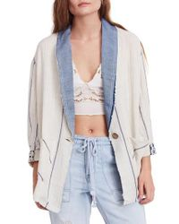 Free People - Multicolor Aria Denim Collar Blazer - Lyst