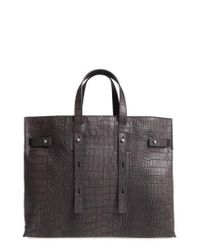 Orciani - Gray Petra Croc-embossed Calfskin Leather Tote - Lyst