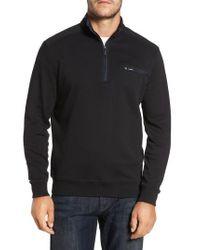Bugatchi - Black Classic Fit Solid Quarter Zip Pullover for Men - Lyst