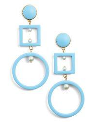 Lele Sadoughi - Blue Cage Imitation Pearl Drop Earrings - Lyst