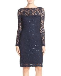 JS Collections | Blue Illusion Lace Dress | Lyst