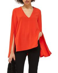 TOPSHOP - Red V-neck Tunic Blouse - Lyst