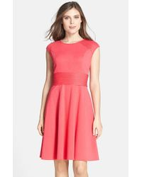 Eliza J | Pink Pintucked Waist Seamed Ponte Knit Fit & Flare Dress | Lyst