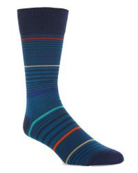 Bugatchi - Blue Stripe Crew Socks for Men - Lyst