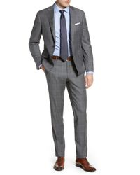 Hickey Freeman Gray Classic Fit Plaid Wool Suit for men