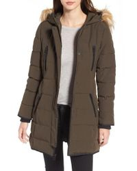 Guess - Multicolor Hooded Jacket With Faux Fur Trim - Lyst