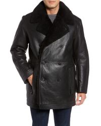 Andrew Marc - Black Marc New York Frontier Double Breasted Genuine Shearling Jacket for Men - Lyst