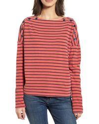 Stateside - Red Stripe Button Tee - Lyst
