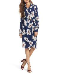 Charles Henry - Blue Floral Shirtdress - Lyst