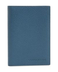 Longchamp - Blue Calfskin Leather Passport Case - Lyst