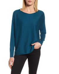 Eileen Fisher - Blue Lyocell Blend High/low Sweater - Lyst