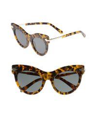 Karen Walker - Brown Miss Lark 52mm Cat Eye Sunglasses - Crazy Tortoise - Lyst