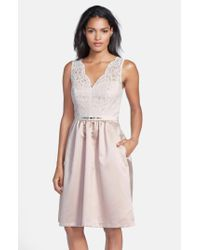 After Six | White Embellished Lace With Satin Fit & Flare Dress | Lyst