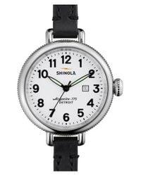 Shinola - Black 'the Birdy' Double Wrap Leather Strap Watch - Lyst