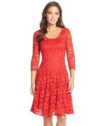 Chetta B   Red 'magic' Lace Fit & Flare Dress   Lyst