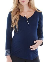 Everly Grey - Blue 'meredith' Henley Maternity Top - Lyst