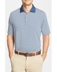 Peter Millar | Blue 'competition' Stripe Stretch Microfiber Golf Polo for Men | Lyst