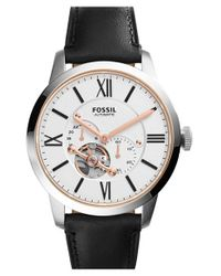 Fossil | Black 'townsman' Automatic Leather Strap Watch for Men | Lyst