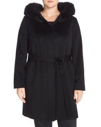 Fleurette | Black Wool & Cashmere Wrap Coat With Genuine Fox Fur | Lyst