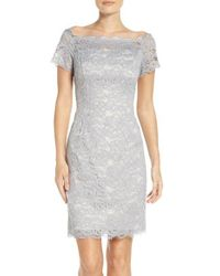 Adrianna Papell | Blue Off The Shoulder Lace Sheath Dress | Lyst
