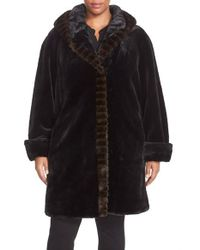 Gallery | Black Hooded Faux Fur Walking Coat | Lyst