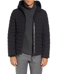 Mackage | Black Lux Water Repellent Hooded Down Jacket With Leather Trim for Men | Lyst