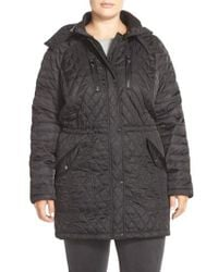 Vince Camuto | Black Detachable Hood Quilted Anorak | Lyst