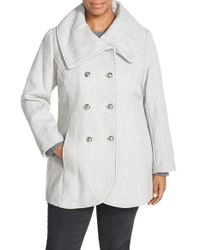 Jessica Simpson | Gray Double Breasted Basket Weave Coat | Lyst
