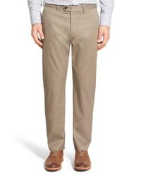 John W. Nordstrom | Natural John W. Nordstrom Non-iron Smartcare(tm) Flat Front Stretch Cotton Pants for Men | Lyst