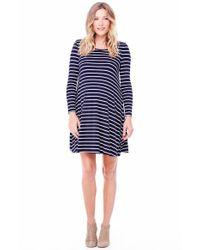 Ingrid & Isabel | Blue Ingrid & Isabel Striped Maternity Trapeze Dress | Lyst