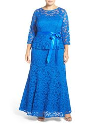 Chetta B | Blue 'magic' Mock Two-piece Lace Peplum Gown | Lyst