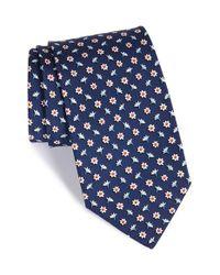 Ferragamo | Blue Floral Print Silk Tie for Men | Lyst