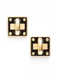 Marc By Marc Jacobs | Black 'turnlock' Enamel Stud Earrings | Lyst
