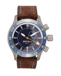 Brera Orologi | Blue 'eterno Gmt' Chronograph Leather Strap Watch | Lyst