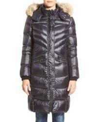 Bernardo   Blue Long Down & Primaloft Coat With Genuine Coyote Fur Trim Hood   Lyst