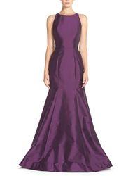 Monique Lhuillier Bridesmaids | Purple Back Cutout Taffeta Mermaid Gown | Lyst