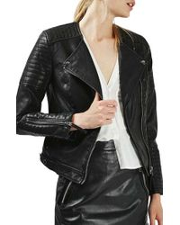 TOPSHOP | Black Nelly Faux Leather Biker Jacket | Lyst