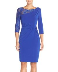 Ellen Tracy - Blue Lace Sleeve Jersey Sheath Dress - Lyst