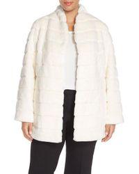 Ellen Tracy | White Grooved Faux Fur Coat | Lyst