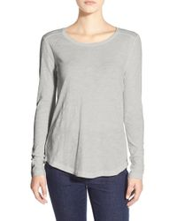 Madewell | White Whisper Cotton Long Sleeve Crewneck Tee | Lyst
