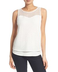 Chelsea28 Nordstrom - White Lace Overlay Tank - Lyst