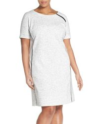 Halogen - Gray Contrast Piping Short Sleeve Sheath Dress - Lyst