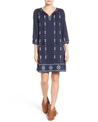 Caslon | Blue Caslon Three-quarter Sleeve Embroidered Shift Dress | Lyst