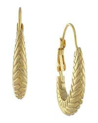 Cole Haan - Metallic Large Basket Weave Oval Hoop Earrings - Lyst
