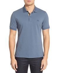 Burberry Brit | Blue 'oxford' Short Sleeve Pique Polo for Men | Lyst