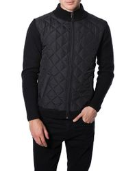 7 Diamonds | Black 'gatti' Quilted Panel Lambswool Knit Jacket for Men | Lyst
