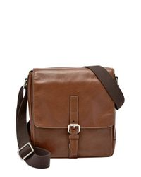 Fossil | Brown 'davis' Leather Messenger Bag - Metallic | Lyst